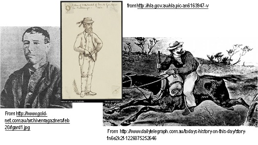 Figure 1: Images of Frank Gardiner used by students to determine bushranger costume